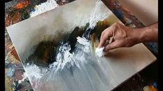 Abstract painting / Using plastic wrap, cloth and palette knife / Acryli...