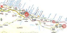 mapa de carreteras, con una cruz roja está señalado el punto de partida. Con dos círculos concéntricos, el inicio y fin de la Senda de la Costa