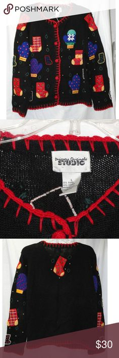 DESIGNERS ORIGINALS STUDIO CHRISTMAS Sweater black sweater has several different Christmas Mittens and Stockings all embellished with beads.  5 crochet covered buttons, long sleeves, Shoulder Pads (left one is only attached at one end!) and is trimmed in red. This item is in good USED condition occasional small snag, missing bead and some wash wear.  This sweater is made of 55% ramie, 45% cotton and should be hand washed. Approx Measurements (taken flat):  Chest:  48 inches   (121.9 cm)…