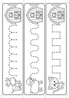 Farm Literacy Centers for Kindergarten and Preschool. Shape Worksheets For Preschool, Preschool Writing, Preschool Lesson Plans, Motor Skills Activities, Preschool Learning Activities, Pre Writing Practice, Kindergarten Readiness, Pre School, High School