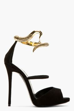 GIUSEPPE ZANOTTI Black Suede Python Coil Heels. omg my slytherin-ness is in awe of these...