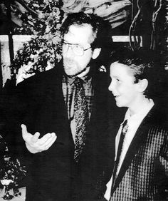 Steven Spielberg and a young Christian Bale at the 1987 premiere of Empire of…