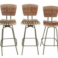 Mid Century Modern Vintage Wood Slats Bar Stools | curated goods $140 for 2!  sc 1 st  Pinterest & Vintage Mid Century Modern Arthur Umanoff Slat Wood Swivel Bar ... islam-shia.org
