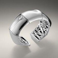 Bamboo cuff in silver