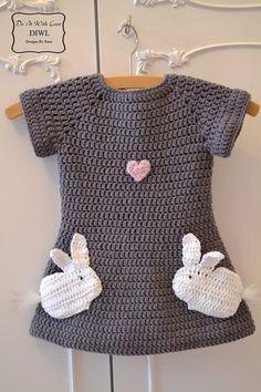Häkelanleitung Kleid Verliebte Hasen 3 - Häkelmuster bei mak... Baby Dress