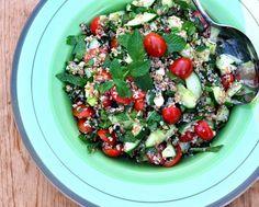 Ina Garten's Tabbouleh Salad, easy salad with bulgur wheat, cucumber, tomato, green onion, fresh parsley, fresh mint. Recipe hint: the secret ingredient is ... !