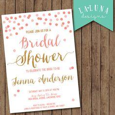 Bridal Shower Invitation, Glitter Confetti Bridal Shower Invite, Glitter Invitation on Etsy, $16.00
