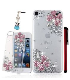 iPod Touch 5, iPhone 4/4S, 5/5S, 5C - Crystal 4 Leaf Bling Clover on Clear Case With Stylus & Ear Jack Charm  Item 490  Features:  - Compatible with iPhone 4 4S/ iPhone 5 5S/ iPhone 5C/ iPod Touch 5/  - Material: rhinestones, crystals, pearls, hard plastic. - Color: As per picture - Prot...