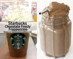 Chocolate Frosty Frappuccino via Starbucks Secret Menu! 3 pumps of mocha syrup 3 pumps of vanilla syrup One scoop of vanilla bean powder Heavy whipping cream (for the thickness) Creme base Top with whipped cream Starbucks Secret Menu Drinks, Starbucks Recipes, Starbucks Coffee, Coffee Recipes, Frappuccino Recipe, Starbucks Frappuccino, Yummy Drinks, Yummy Food, Chocolate Frosty
