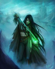 Elwen Branduir Mora, sword mage by lleayhe on dA