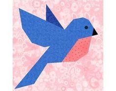 Bluebird of Happiness paper piecing quilt block pattern PDF. Bluebird, Happi Paper, Paper Pieced Quilts, Quilt Patterns, Quilt Birds, Quilt Blocks, Quilt Block Patterns, Bird Quilt, Piec Quilt