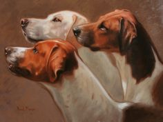 Dogs in Art at the StockBridge Gallery - Three Hounds Portrait Sample by Hazel Morgan, Portraiture Sample Not for Sale (http://www.dogsinart.com/products/Three-Hounds-Portrait-Sample-by-Hazel-Morgan.html)