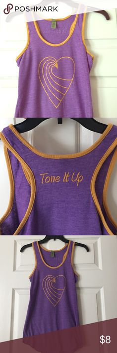 Tone It Up Heart Tank  Tone It Up Heart Logo Racerback Workout Tank. Fits more like an XS. Tone It Up Tops Tank Tops