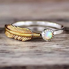 Mermaid Opal and Feather Ring