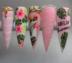 Summer Acrylic Nails, Best Acrylic Nails, Acrylic Nail Designs, Summer Nails, Nail Art Designs, Bling Nails, Swag Nails, Cute Nails, Pretty Nails