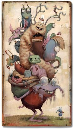 """Morning Commute"" by Mateo Dineen acrylic and collage on wood 5 Cartoon Monsters, Cute Monsters, Little Monsters, Cartoon Drawings, Art Drawings, Cartoon Art, Character Illustration, Illustration Art, Illustration Mignonne"