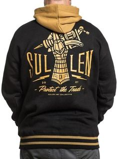 "Men's ""Letterman"" Hoodie by Sullen (Black/Mustard)"