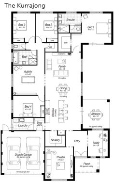 Today for my Floor Plan Friday post I have this one which features a modern kitchen, large scullery, drop zone and heaps more. It's a 4 bedroom home with the Master bedroom on the back. Some people love that layout! 5 Bedroom House Plans, New House Plans, Dream House Plans, Modern House Plans, House Floor Plans, U Shaped House Plans, The Plan, How To Plan, Plan Plan
