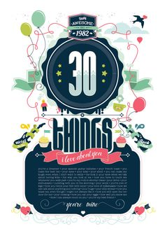 Recent Work, 30 Things, by Sugar and Spice Graphic Design