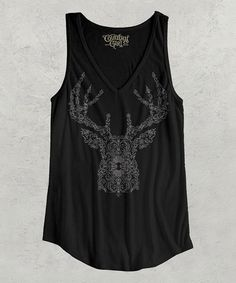 This Black & White Swirl Deer V-Neck Tank Top - Women & Plus by Country Girl is perfect! #zulilyfinds