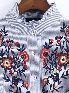 Blusa a rayas con bordado floral y volantes - azul-Spanish SheIn(Sheinside) Sitio Móvil