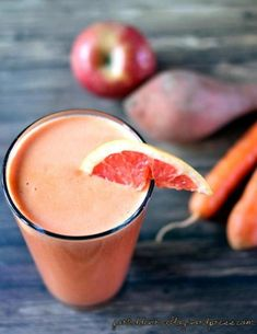 This No Orange-Orange Juice uses grapefruit, apples, yams, carrots, and grapes to capture that refreshing flavor