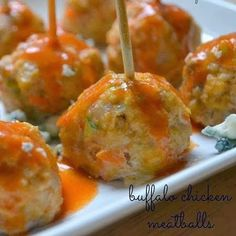 Buffalo Chicken Meatballs - These buffalo chicken meatballs are made with lean ground chicken and packed with healthy vegetables – whizzed through the food processor so you hardly notice them