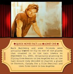 10 Fun Movie Facts Thank god he wasnt on the plane Fun Movie Facts, Funny Facts, Weird Facts, Movie Trivia, Crazy Facts, Movie Info, Facts You Didnt Know, Dump A Day, Mark Wahlberg