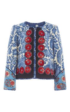 Shop One of a Kind Les Baux Jackets. This one of a kind jacket by **Alix of Bohemia** is rendered in printed cotton linen blend and features red daisy applique. Batik Fashion, Boho Fashion, Stylish Coat, Dress Neck Designs, Altered Couture, Boho Girl, Batik Dress, Party Wear Dresses, Blazer Fashion