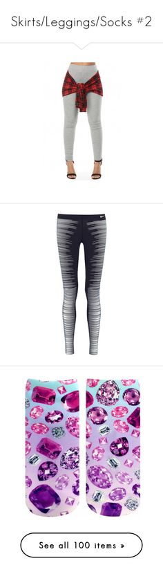 """Skirts/Leggings/Socks #2"" by missk2blue ❤ liked on Polyvore featuring blue, adidas, pants, leggings, bottoms, jeans, accessories, tartan plaid leggings, grey pants and grey trousers"