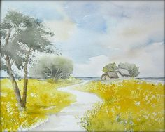 """""""Sommer in Friesland""""  - Aquarell  / Watercolor / Painting / Original /// Prices from € 15 (Ebay auction) /// Postage and packing € 3 (Global shipping)"""