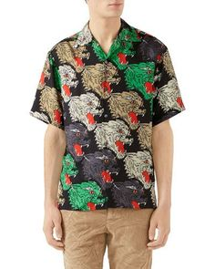 394ecb18 Gucci Men's Multicolor Panther-Print Silk Shirt Gucci Shirts Men, Panther  Print, Collar