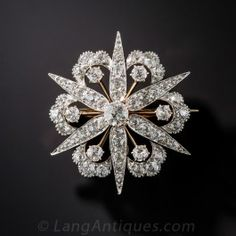 Late Victorian Diamond Starburst Brooch/Pendant - Antique & Vintage Pins and Brooches - Vintage Jewelry