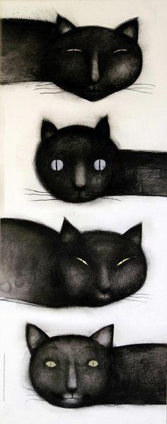 """""""La curiosidad abre el libro [Curiosity opens a book]"""" (Ana Juan for FGSR) Crazy Cat Lady, Crazy Cats, Black Cat Art, Black Cats, Curiosity Killed The Cat, Illustration Art, Illustrations, Son Chat, All About Cats"""