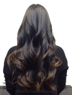 Subtle brown ombre on black hair