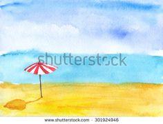 Sand beach. Watercolor. - stock photo