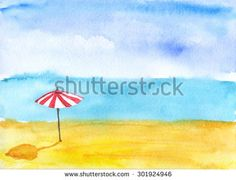Sand beach. Watercolor. - stock photo