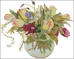 """Cross-stitch design """"Tulips in vase"""""""