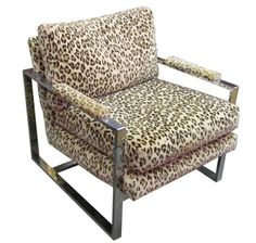 1970's Milo Baughman Leopard Print and Chrome Lounge Chair