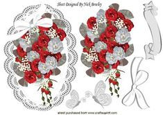 Bouquet of red and white roses with bow on lace on Craftsuprint - Add To Basket!
