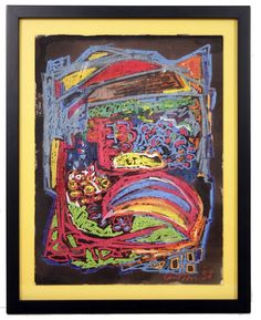 Virgil Cantini Abstract Bowl of Fruit Cray-paz. Signed, 1958, Framed.