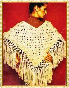 Crochet Poncho Vintage Pattern PDF Instant by GrandmaHadItGoinOn  Vállkendőminták 83df225196