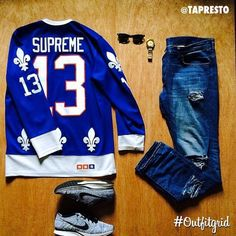 Today's top #outfitgrid is by @tapresto. #Supreme #HockeyTop, #Nike #Flyknit…