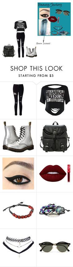"""""""Veronica's School Outfit (OC)"""" by queen26yassy ❤ liked on Polyvore featuring Miss Selfridge, Dr. Martens, Blue Blush, Lime Crime, Wet Seal and Ray-Ban"""