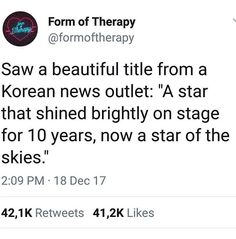 """A star who has been shining for many years will continue to shine up in the sky"""