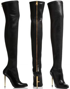 Ariana Grande in Tom Ford Nappa Stretch Leather Metal Stilleto Over-The-Knee Boots