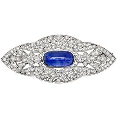Estate Betteridge Collection Burmese Sapphire & Diamond Brooch