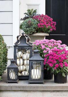Modern Fall Decor, Fall Home Decor, Autumn Home, Decoration Entree, Driven By Decor, Fall Planters, Lanterns Decor, Porch Lanterns, Front Door Decor