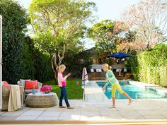 """The girls are always in the backyard or in the pool, especially in summer,""… Outdoor Spaces, Indoor Outdoor, Outdoor Living, Outdoor Ideas, Back Gardens, Outdoor Gardens, Pool Shade, My Pool, Pool Cabana"