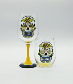 Yellow Sugar Skull Hand Painted Wine Glass Stemmed or Stemless